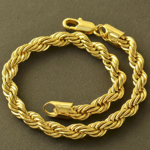 Other - 9K Yellow Gold Filled Mens Rope Bracelet, 8.8 Inch
